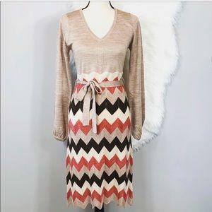 BCBG Maxazria Chevron knit dress